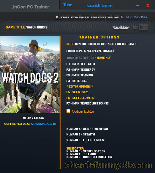 Watch Dogs 2: Трейнер +11 для версии 1.8 от LinGon